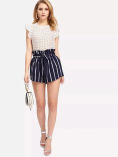Women's Belted Ruffle Waist -White Striped Shorts in Navy Blue; Belted Shorts, Striped Shorts, High Waisted Shorts, Boho Shorts, Casual Shorts, Navy Shorts, Spring Outfits Women, Summer Fashion Outfits, Casual Outfits