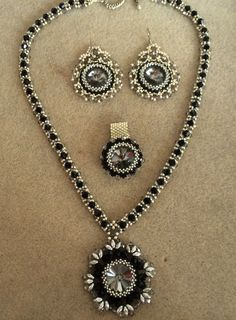 Black evening wear set made with a Swarovski Rivoli, delicas, 3-4mm Swarovski Bicones.