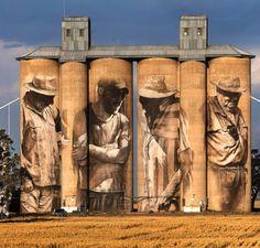 Guido van Helten - for Silo Art Trail /Juddy Roller - Brim, Victoria (Australia) - 2015