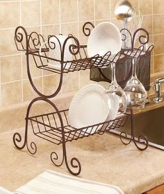A Wrought Iron Dish Rack is ideal for drying and storing dishes and cutlery. Plate Racks, Dish Racks, Kitchen Items, Kitchen Decor, Wrought Iron Decor, Iron Furniture, Tuscan Decorating, Iron Art, Cuisines Design