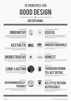 Dieter Rams' 10 Principles For Good Design If you've never heard of Dieter Rams, he's a legendary designer who's had heavy influence over such companies as Braun and the Functionalist school of Layout Design, Graphisches Design, Logo Design, Design Basics, Graphic Design Tips, Typography Design, Branding Design, Design Model, Design Thinking