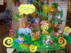 Jungle theme Pinata and Centerpiece by Decorationsbyme on Etsy, $45.00