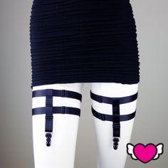 Black Suspenders Thigh Suspenders Suspenders by StyleWanderlustUSA