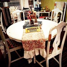 Awesome table and chairs just arrived #thefarmhousepeddlar at #thevintageshoppesofamherst #shabby #vintage #antiques #repurpose #painted #homedecor #furniture by salvagedmemories