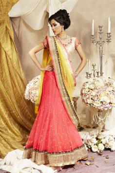 Lengha Choli orange and pink and yellow