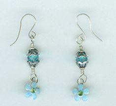 True Blue Crystal Flower Earrings