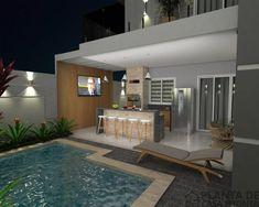 - Andre e Vanessa - Imagem 10 - sem logo Design Exterior, Facade Design, House Design, Future House, My House, Small Backyard Pools, Modern Garage, Modern Contemporary Homes, Pool Houses