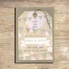 25 Pastel Flowers and Bunting Save The Date Luggage Tags, Rustic Wedding Stationery, Outdoor Wedding, Modern Wedding