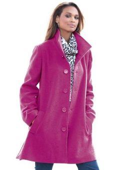 Plus Size Short Wool Coat (Raspberry,16) BCO. $59.99