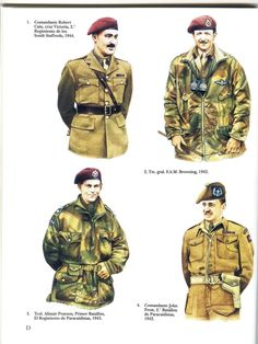 BRITISH ARMY - 1) Commander Robert Cain, (Victoria Cross), 2° Regiment (South Stafford), 1944 - 2) Lieutnant-General F.A.M. Browning, 1942 - 3) Liutnant-Colonel Alain Pearson, 1° Battalion, Airbourne Regiment, 1943 - 4) Commander John Frost, 2° Airbourne Battalion, 1942