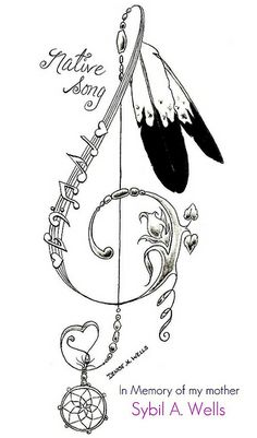 Musical note, dream catcher, indian's feathers, flowers, heart