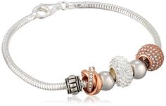 """CHARMED BEADS Sterling Silver and Rose Gold-Plated Crystal Bead Charm Bracelet, 7.5"""". Snake-chain charm bracelet featuring array of sterling silver and rose gold-tone beads set with sparkling crystals. Lobster-claw clasp. Imported. Crafted in .925 Sterling Silver."""