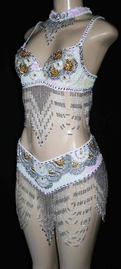 Miami Feathers and Beaded Dance Costumes Dance Outfits, Dance Dresses, Dance Crafts, Exotic Dance, Mardi Gras Costumes, Crazy Outfits, Beautiful Costumes, Disney Beauty And The Beast, Belly Dance Costumes