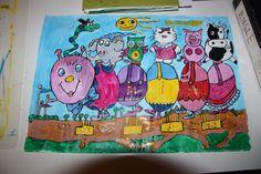 Barnekunst: ut på tur.  malt av Gro Wavik.