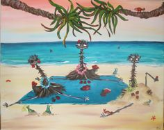 deck of cards, emus playing at the beach, acrylic painting