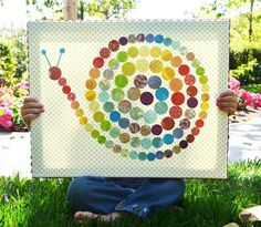 w/ Eric Carle unit... have groups paint large pieces of paper (warm and cool colours) and then punch out the circles to make our creations. wall art, snails, polkadot snail, idea, polka dots, snail craft, parad, kid craft, crafts