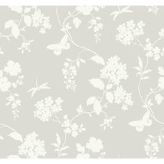York Wallcoverings Black and White Silver Scenic Vines Wallpaper-AB1996 - The Home Depot