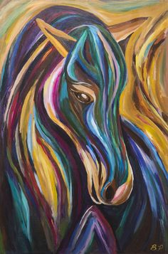 PolyChrome Pony by Brandi Pratt available as a print. A vibrant abstract horse makes this equestrian painting alive with color. Lots of movement and brush strokes. Contemporary Equine Art. Horse Painting