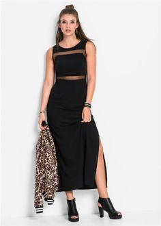 Платье со вставками в сеточку (черный)