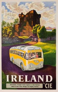 Ireland by CIE Shannon Bus  Irish Travel Poster 1950s