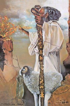 Exodus 3 New Living Translation (NLT) Moses and the Burning Bush  3 One day Moses was tending the flock of his father-in-law, Jethro,[a] the priest of Midian. He led the flock far into the wilderness and came to Sinai,[b] the mountain of God. 2 There the angel of the Lord appeared to him in a blazing fire from the middle of a bush. Moses stared in amazement. Though the bush was engulfed in flames, it didn't burn up./Artist: unknown