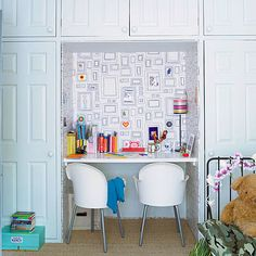 If your child has a wall of closets, consider removing one and placing a desk there in its place.  Source: This Old House