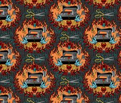 This is the best fabric ever made. Reap what you Sew - Hellfire fabric by thirdhalfstudios on Spoonflower - custom fabric