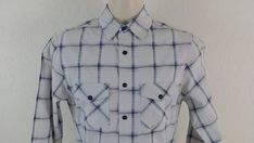 100 % Cotton Made in China. Seven Buttons Placket. Two Chest Pocket Flap with Snap Button Closure. Casual Button Down Shirts, Casual Shirts, Laundry, Plaid, English, Shirt Dress, Gray, Mens Tops, Cotton