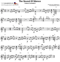 Easy Classical songs Sheet Music 45 the sound Silence Fingerstyle Guitar Sheet Music Classical Guitar Sheet Music, Easy Sheet Music, Drums Sheet, Violin Sheet Music, Song Sheet, Guitar Notes, Guitar Tabs, Guitar Chords, Music Chords