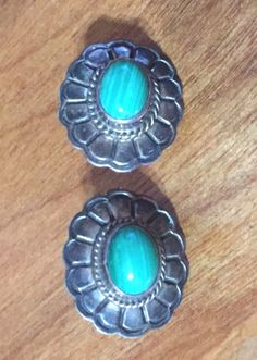 Older Sterling Silver & Malachite Navajo pierced earrings Tortoise shell pattern