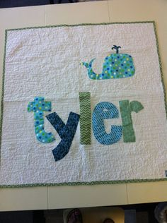 LOVE this idea~ personalized appliqued baby quilt http://findanswerhere.com/gifts