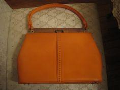Vintage Orange Kelly Style Handbag