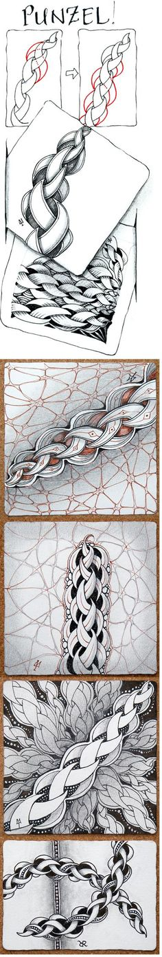 """Punzel.The red """"dots"""" in these instructions are not meant to be drawn. Rather, they indicate the visualization process of seeing where the next element begins as you proceed to """"draw behind"""" in a Zentangle way."""