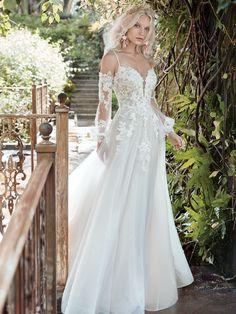 Stevie| Cold-shoulder princess wedding gown with chic bishop sleeves. #wedding #weddingdresses #bride #bridal #bridalgown #weddingfashion #weddingplanning #maggiesottero