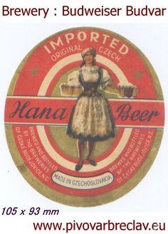 PEMD 1 ks stará etiketa HANA BEER BUDVAR červená (6395909657) - Aukro - největší obchodní portál