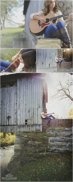 Natural Light Senior Portraits | Custom Senior Portraits | Senior Pictures with Guitar | by Britt Lanicek Photography in NW Ohio.