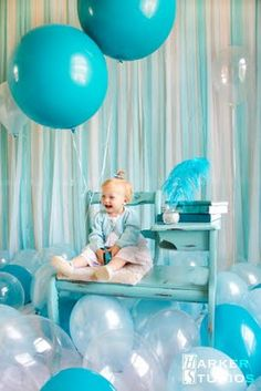 We can theme it around their favorite color. Our niece would love this if it was purple. Aqua Party, Toddler Photography, Photography Ideas, Big Balloons, First Birthday Photos, Baby Boy Birthday, Creative Photos, Newborn Photos, First Birthdays