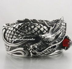 Heavy 316L Stainless Steel Dragon Men`s Bangle 5J4