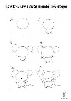 How to draw a cute mouse How to draw all kinds of things! Doodle Drawings, Cute Drawings, Doodle Art, Drawing Lessons For Kids, Art Lessons, Easy Drawings For Kids, Art For Kids, Mouse Crafts, Directed Drawing