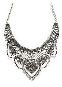 Metal Filigree Statement Bib Necklace