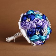 Hand-Made-Blue-Satin-Rose-Stunning-Crystal-Brooch-Bridal-Wedding-Bouquet-Decor