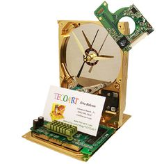 Hard Drive Clock now a Business Card Holder. Graphics Circuit Board Holds Business Cards.. $52.00, via Etsy.