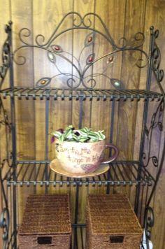 Bakers Rack Bakers Rack, Kitchen Items, Planter Pots, Furniture, Home Decor, Diner Kitchen, Decoration Home, Room Decor, Home Furnishings