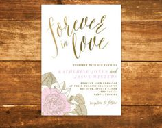 Peony Pink Wedding Invitation - Forever in love modern wedding invitation with flowers and gold accents