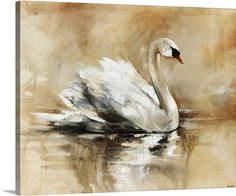 Swan Lake Swan Painting, Autumn Painting, Painting Prints, Art Prints, Tier Fotos, Swan Lake, Acrylic Art, Animal Paintings, Bird Art