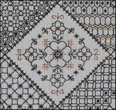 Diamond detail from Block 4 stitched by Liz www.blackworkjourney.co.uk