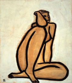 "#artwork #peinture ""Nu Assis"" (Seated Nude), 1950 Huile sur toile de l'artiste chinois Sanyu (1901-1966)"