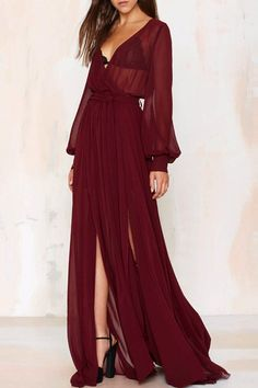 See-Through Slit V Neck Long Sleeve Maxi Dress