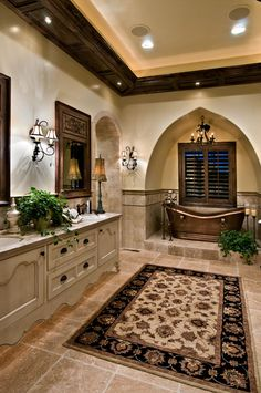 Custom Homes | K Welch Homes .::pretty, although I don't think I'd want a big rug like that in my bathroom::.