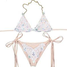 a7b977f31ea  EBay  2Pcs Lace Patchwork Bikini Women Swimwear Crystal-Inlaid Lady Split  Swimsuit Sexy